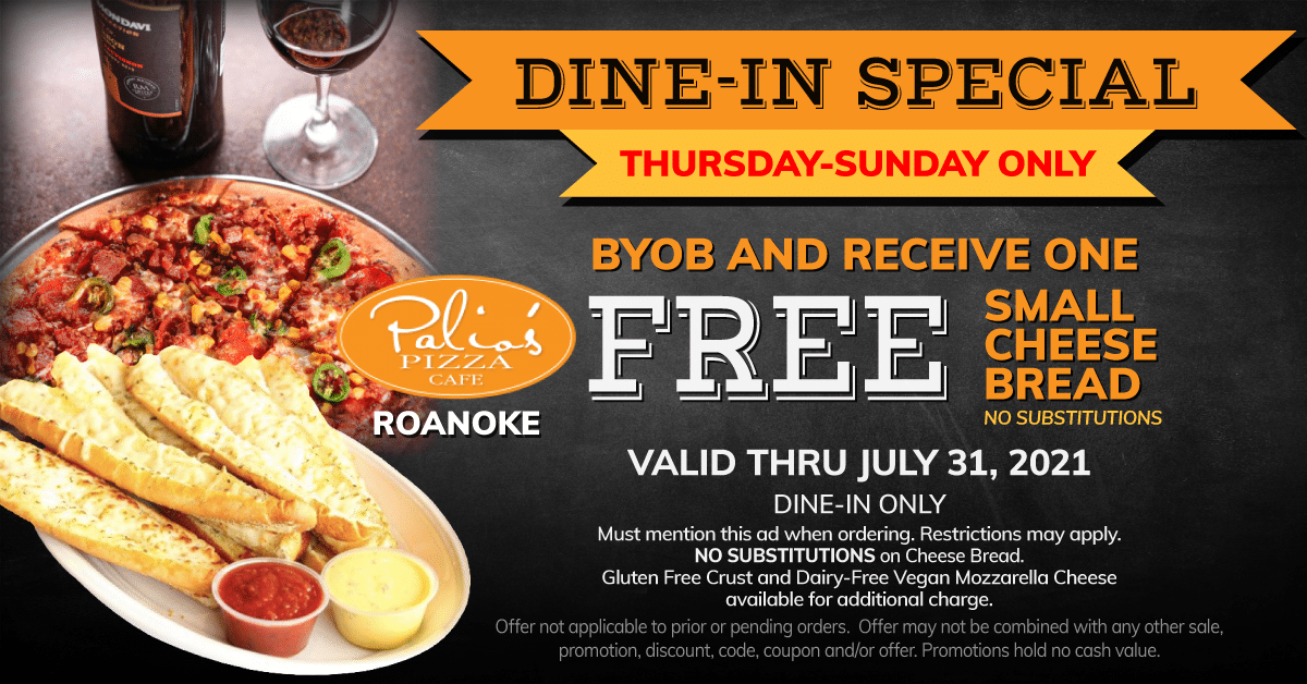 Dine-In Special - Thursday - Sunday