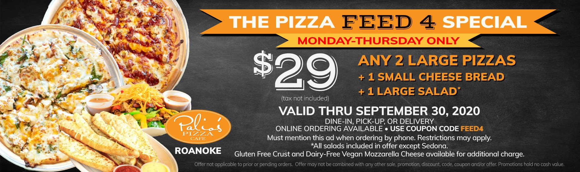 The Pizza Feed4 Special - Monday - Thursday