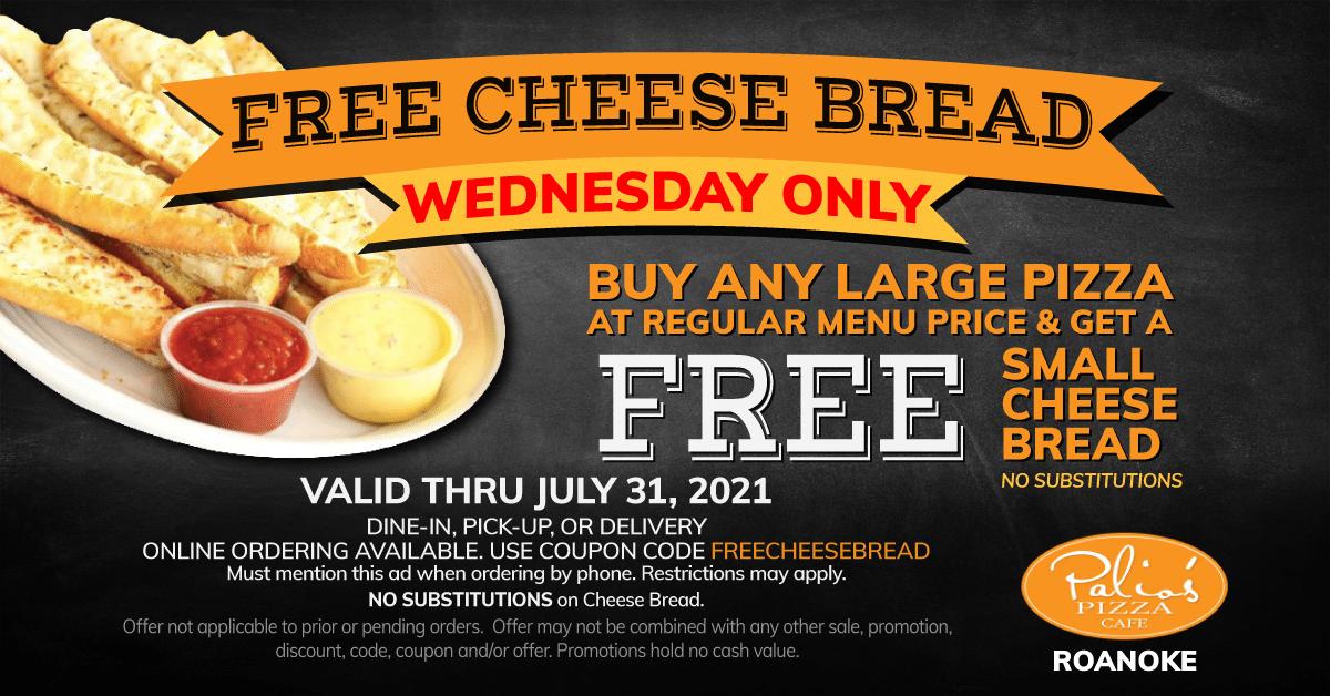 Free Cheese Bread - Wednesday Only